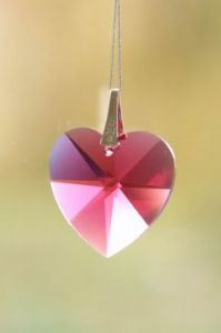 Crystal~Heart 20 Bordeaux Swarovski Hanging.Rainbow Collection-A stunning array of dancing light